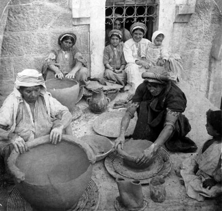 (Women)_making_clay_jars,_Ramallah,_Palestine