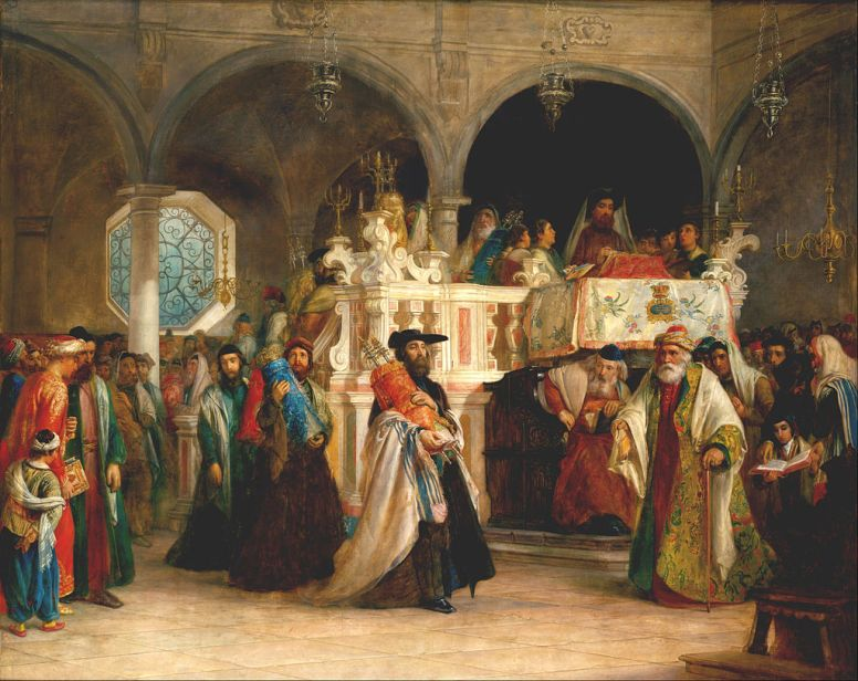 Solomon_Alexander_Hart_-_The_Feast_of_the_Rejoicing_of_the_Law_at_the_Synagogue_in_Leghorn,_Italy_-_Google_Art_Project