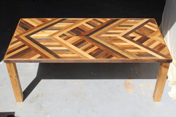 DIY Pallet Chevron Dining Table