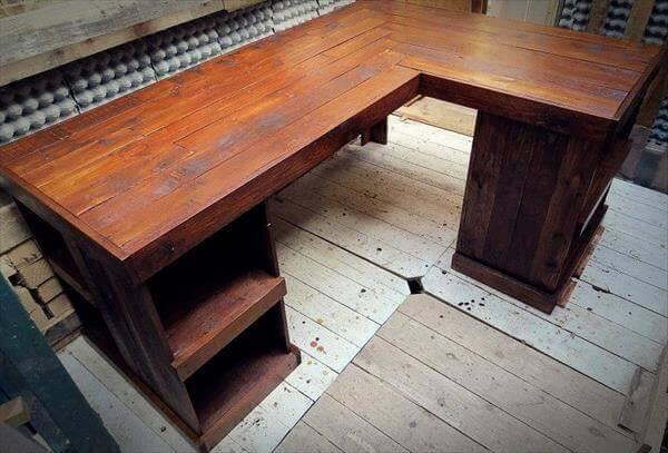 DIY Pallet Wood Distressed Table  Computer Desk  101 Pallets