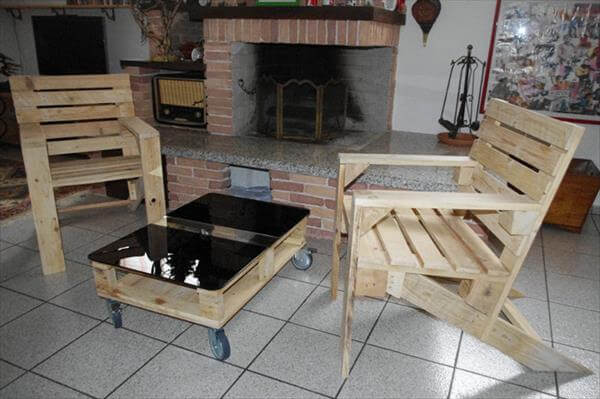 Pallet Arm chairs and Coffee Table