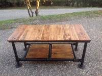 DIY Pallet Coffee Table with Pipe Base | 101 Pallets