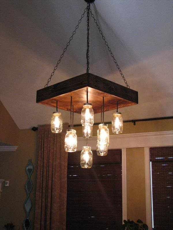 Reclaimed And Pallet Mason Jars Chandelier