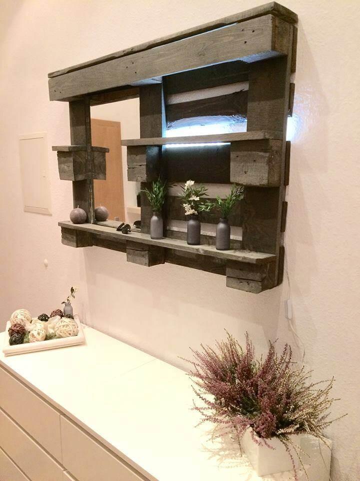 Pallet Bathroom Mirror Shelf