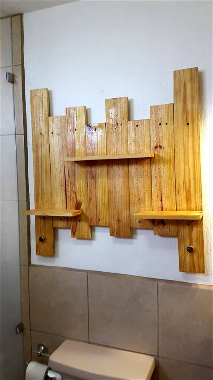 Pallet Bathroom Shelf for Toiletries