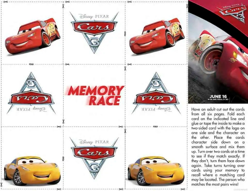Disney Cars Free Printable Activity Sheets