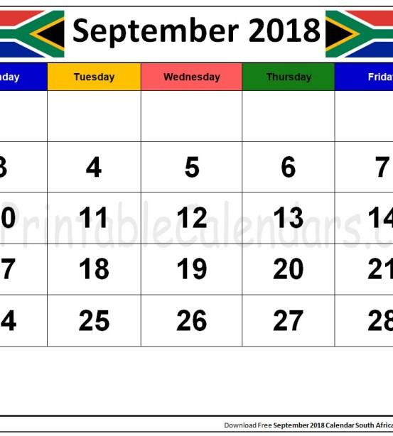 september 2018 calendar south africa