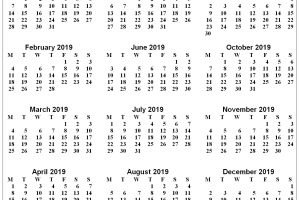 Free Yearly 2019 Calendar Printable Template Blank With 2019 Holidays