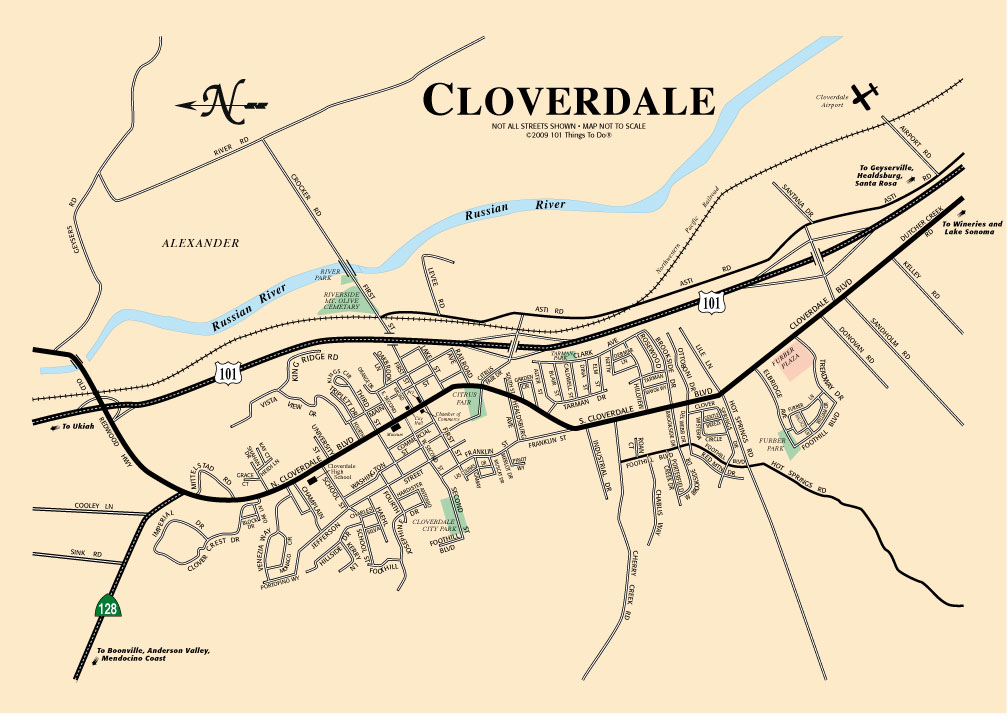 Cloverdale Map 101 Things To Do Wine Country