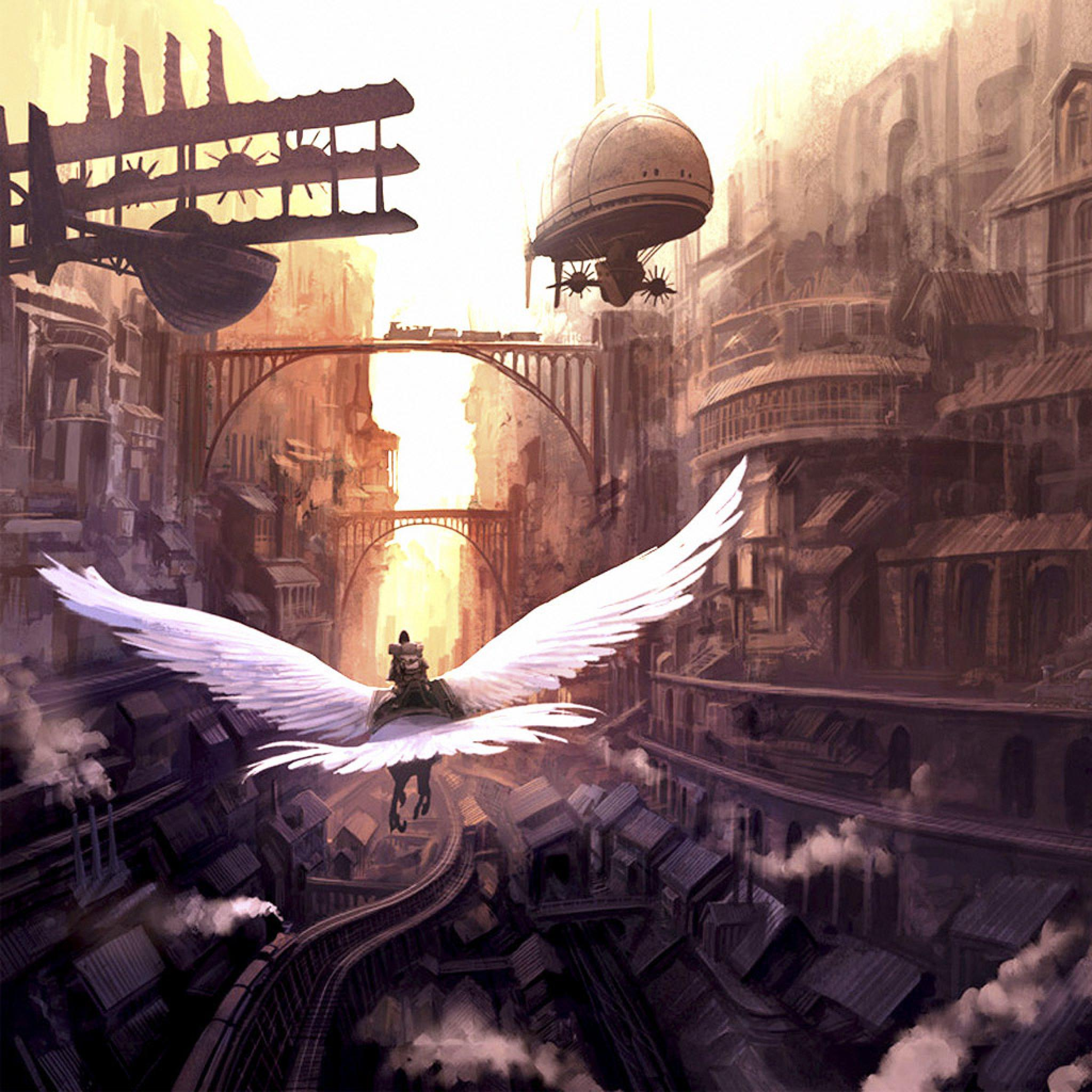 Gothic Girl Wallpaper Iphone Cg Fantasy Fantasy Bird Flying Over The City Ipad
