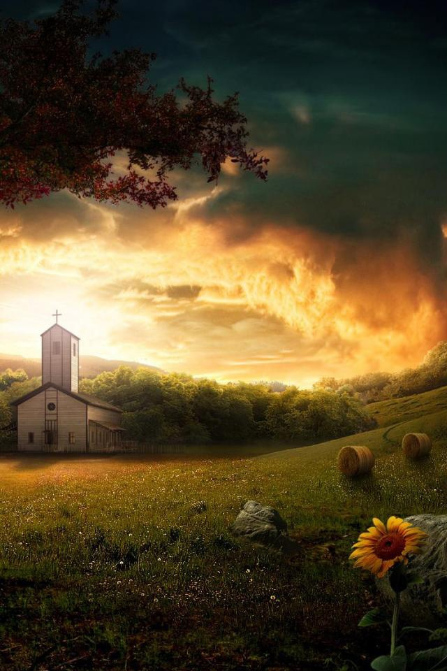 Gothic Girl Wallpaper 640x960 Cg Fantasy Little Country Church Ipad Iphone Hd