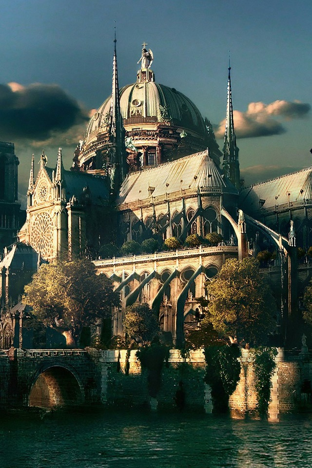 Superman Hd Iphone Wallpaper Cg Fantasy Notre Dame Cathedral Paris Ipad Iphone Hd