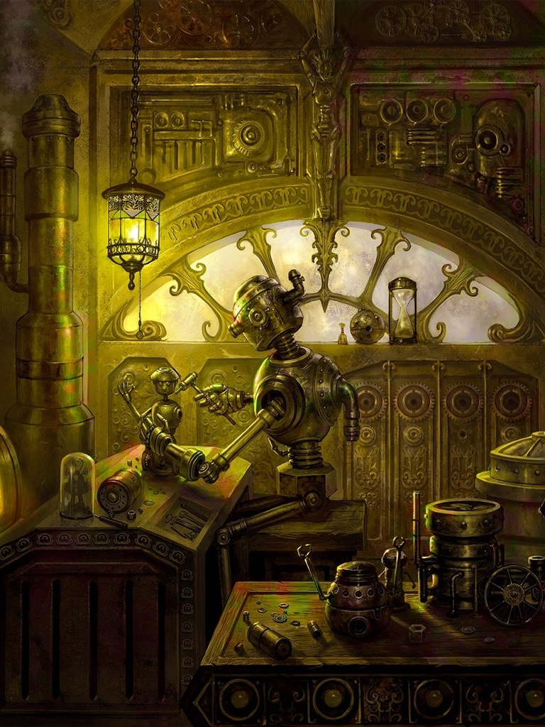 Steampunk Girl Wallpaper Hd Cg Fantasy Steampunk Robots Repair Workshop Ipad