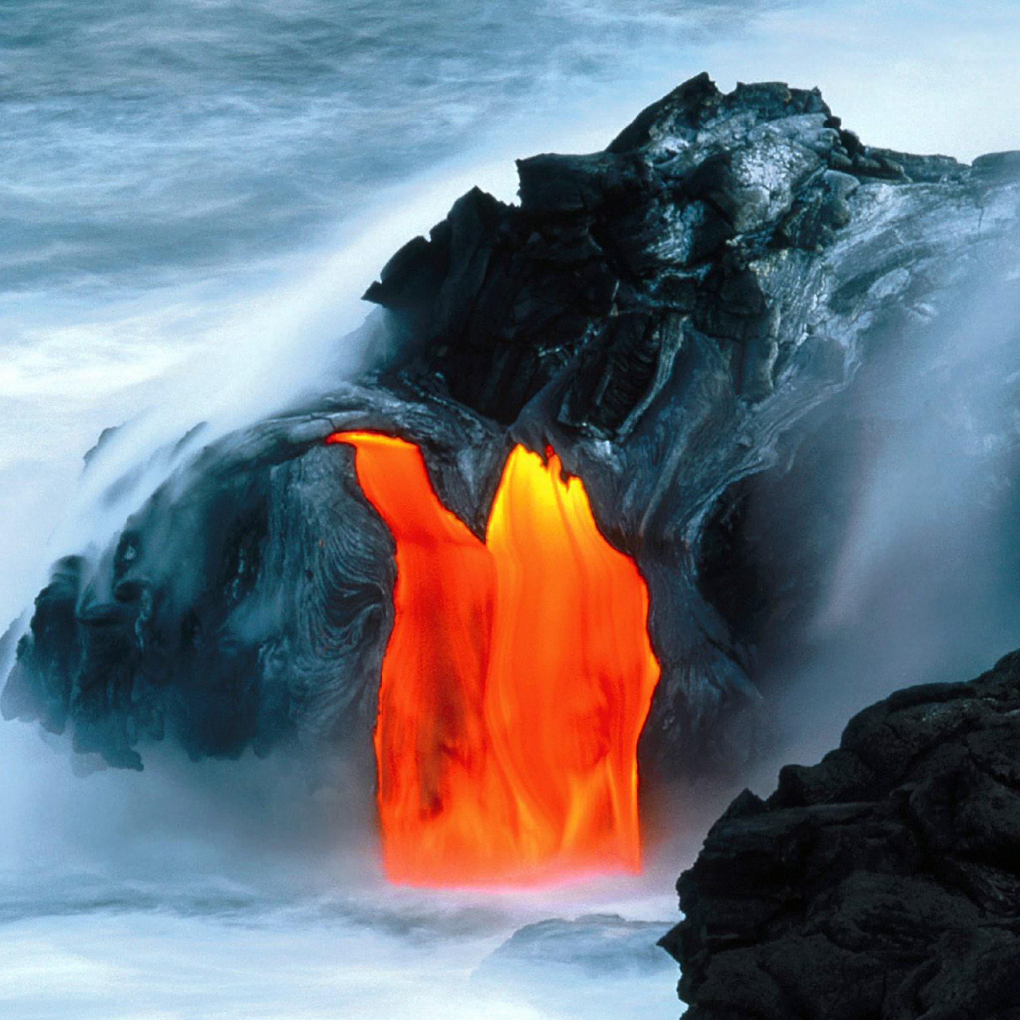 Yosemite Lava Falls Wallpaper Nature Kilauea Volcano Lava Flow Hawaii Ipad Iphone Hd
