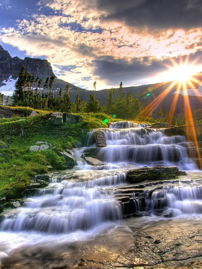 Fall Leaves Ipad Wallpaper Nature Cascade Mountain Waterfalls Hdr Ipad Iphone Hd