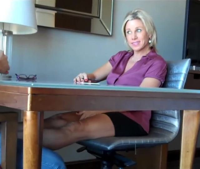 Blonde Milf Gives A Guy A Perfect Footjob With Her Mature Feet At The Office Feet9