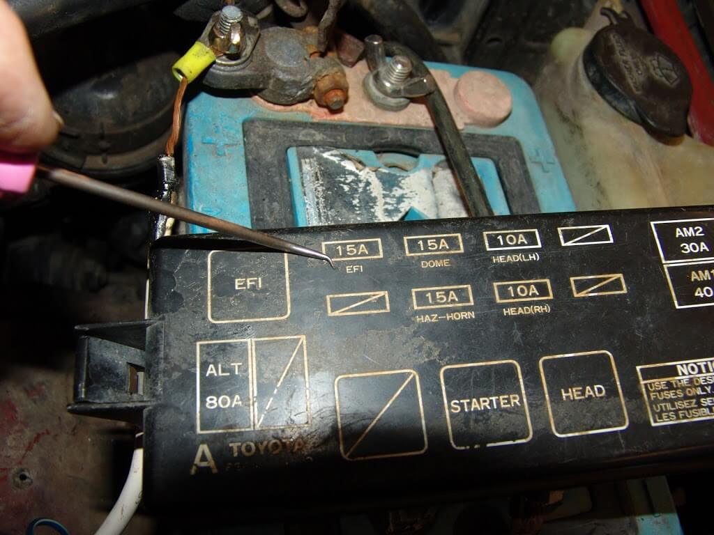 The fuse was blown and would blow as soon at the key was turned on.