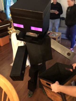 Liam as an Enderman, also from Minecraft.