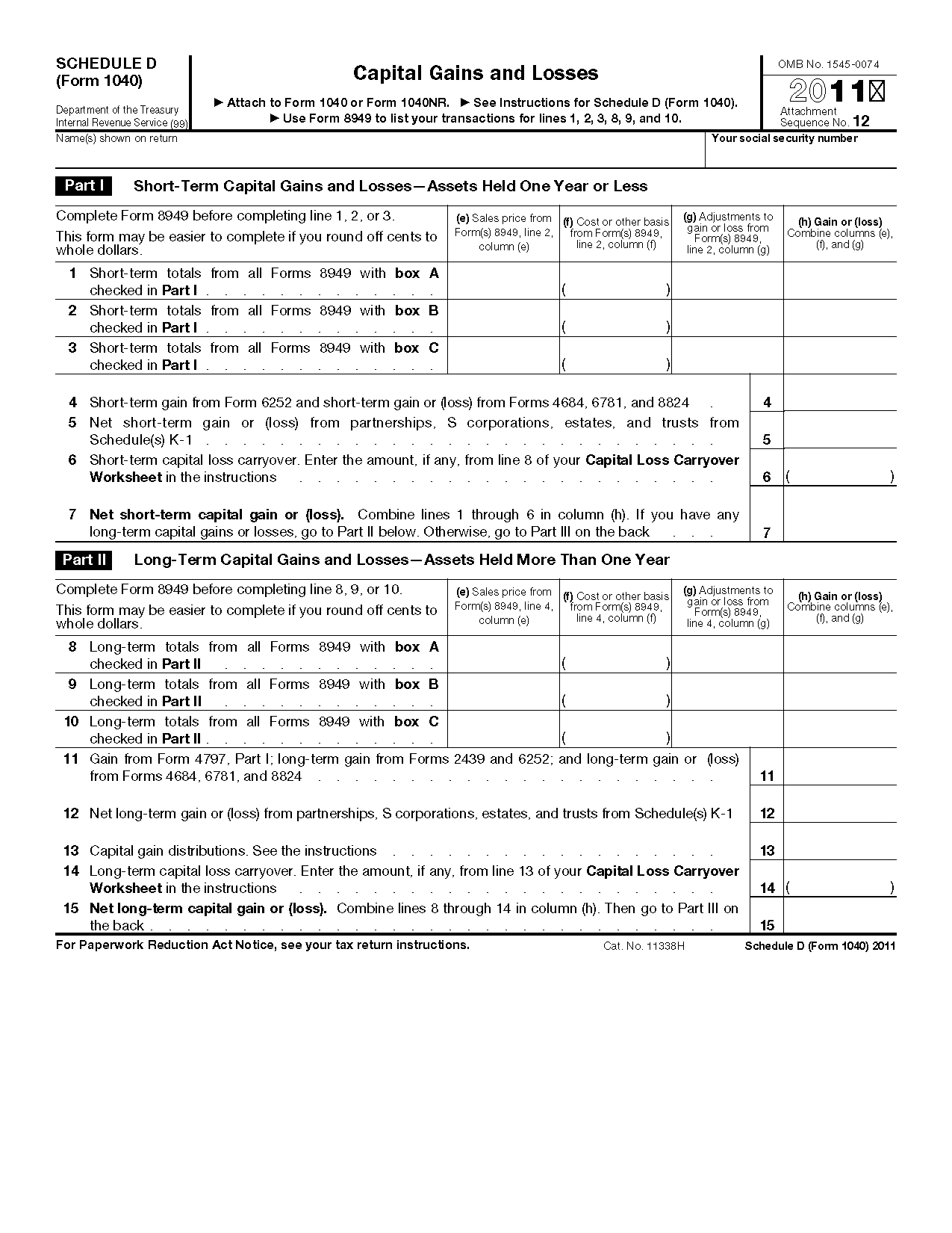 Irs Form Schedule D Worksheet