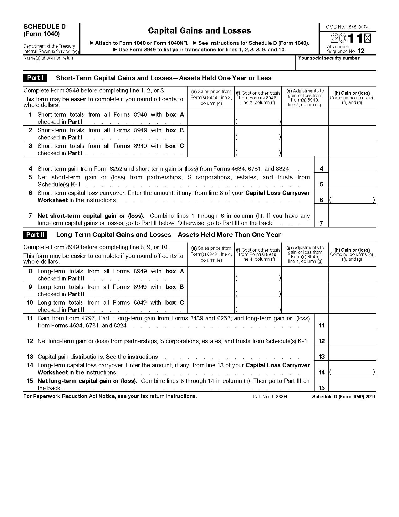 Schedule D Form Line 12