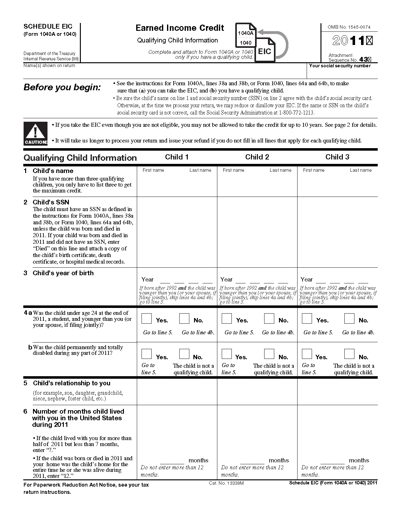 Irs Form Schedule Eic