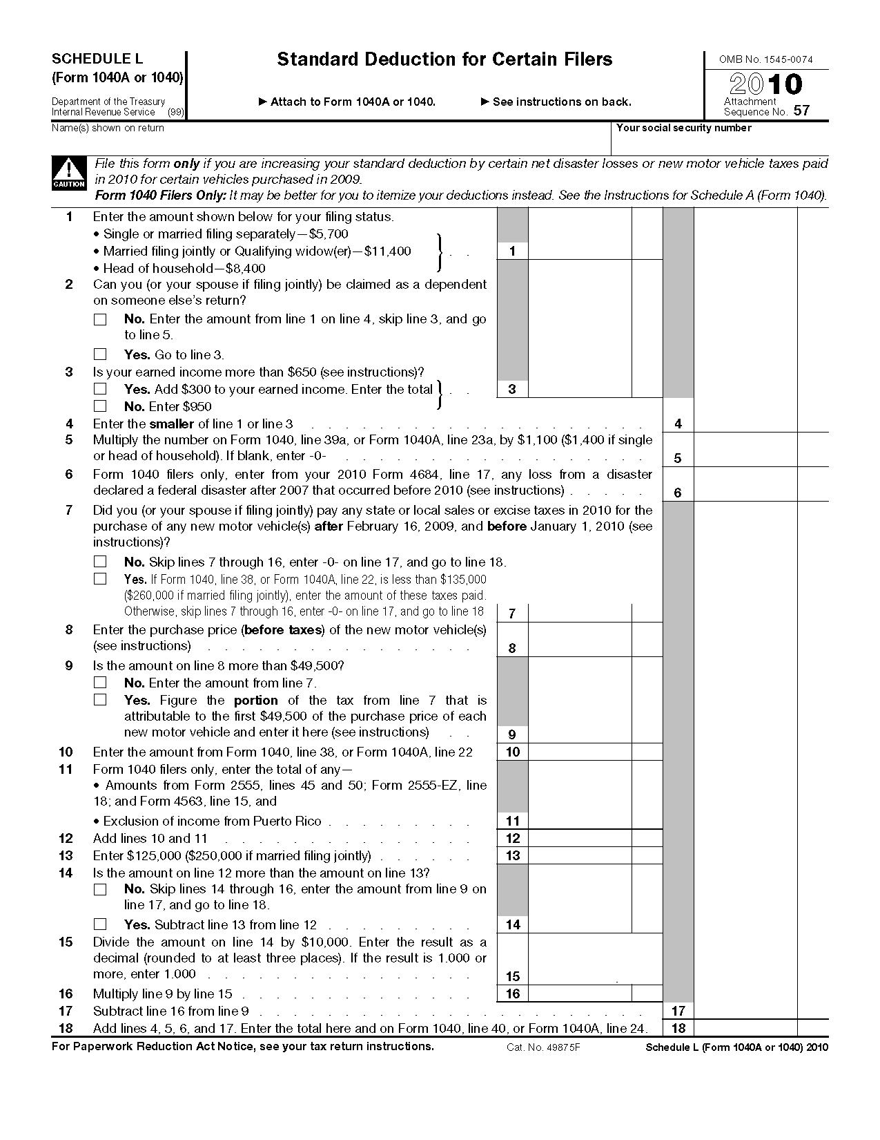 Form Schedule L Standard Deduction For Certain Filers