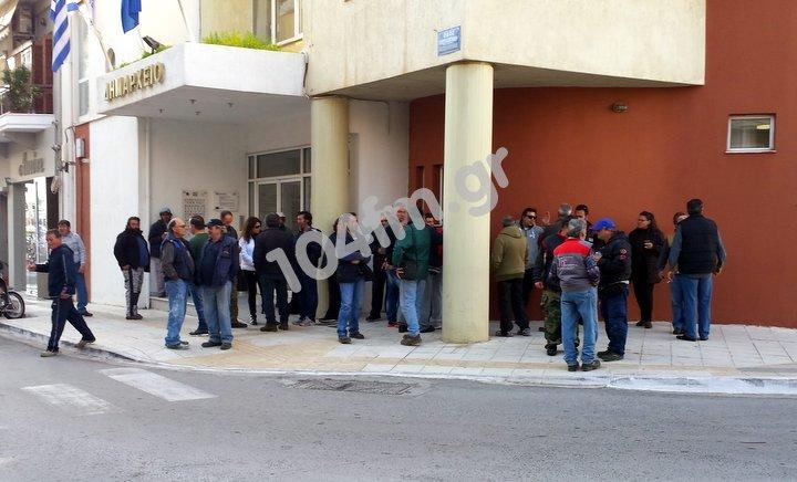 συμβασιούχοι Δήμου Αγίου Νικολάου διαμαρτυρία