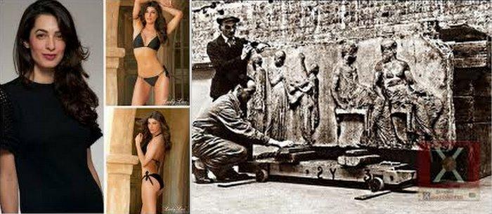 από τη μια η διάσημη κυρία Αμάλ και από την άλλη πλιάτσικο αρχαιοτήτων