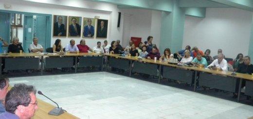 η συνάντηση στην αίθουσα του δημοτικού συμοβουλίου