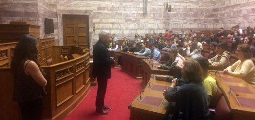 Ο Μανόλης Θραψανιώτης υποδέχτηκε το 3ο Γυμνάσιο Ιεράπετρας στη Βουλή