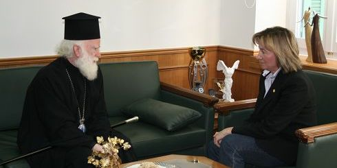 Ο Αρχιεπίσκοπος Ειρηναίος με την κ. Σχοιναράκη