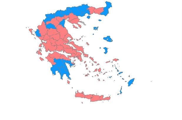 δύο κόμματα (χρώματα) επικρατούν στη χώρα: Συ.Ριζ.Α. και Ν.Δ.
