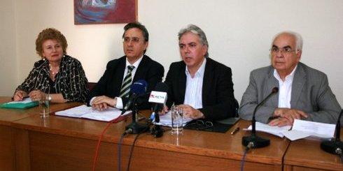 από τη συνέντευξη και απο αριστερά, Μπρεδάκη, Αναστασάκης, Αεράκης, Σκουλάς