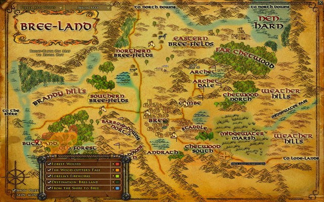 and the map does tell you to right click to zoom out but that help text is in a different spot on each map see this map of bree lotr