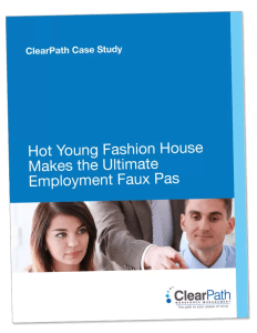 ClearPath Case Study eBook cover How Young Fashion House Makes the Ultimate Employment Faux Pax