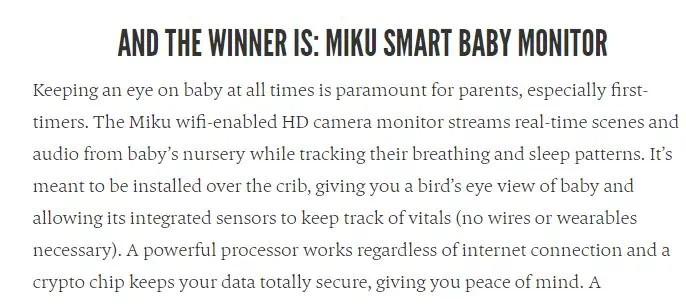 Snapshot of the Award to Miku as Best Smart Baby Monitor 2019 from the Bump