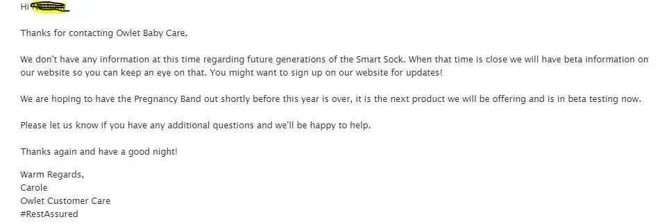 Snapshot of an email from Owlet customer service about Owlet Smart Sock 3 Release