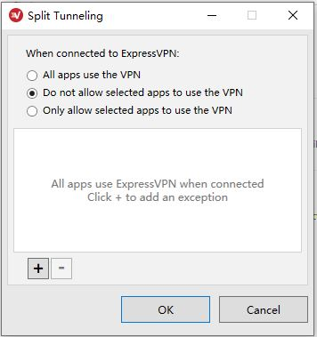 ExpressVPN Windows Options - General -Split tunneling-do not allow selested apps to use the vpn