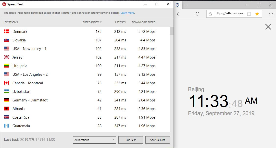 ExpressVPN windows Speedtest tool-20190927