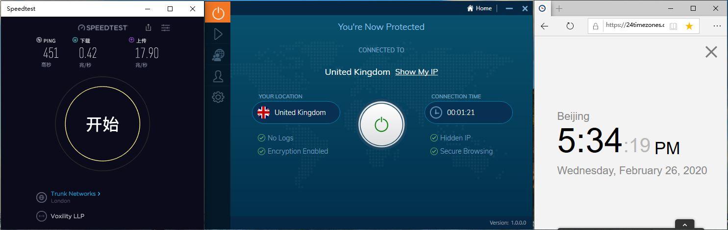 IvacyVPN Windows10 UK 中国VPN翻墙 科学上网 Youtube测速-20200226