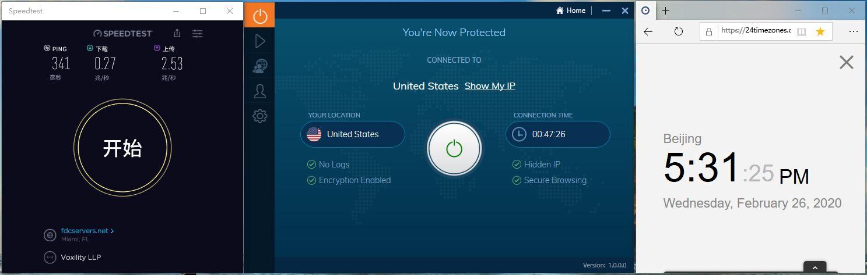 IvacyVPN Windows10 USA 中国VPN翻墙 科学上网 Youtube测速-20200226