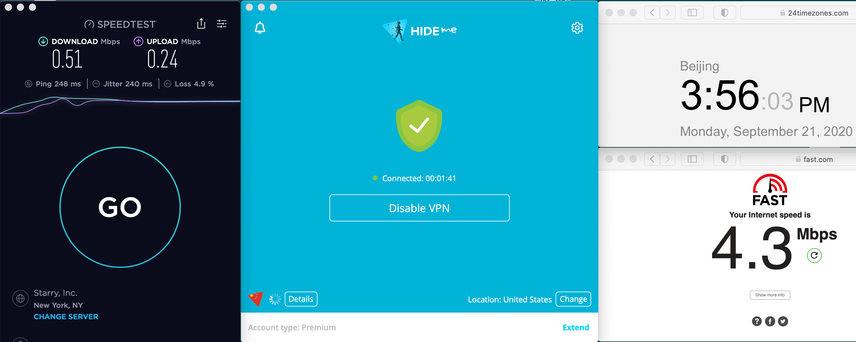 Macbook Hideme VPN Auto Streaming USA For Disney+ 中国VPN 翻墙 科学上网 速度测试 2020-09-21 at 15.56.22