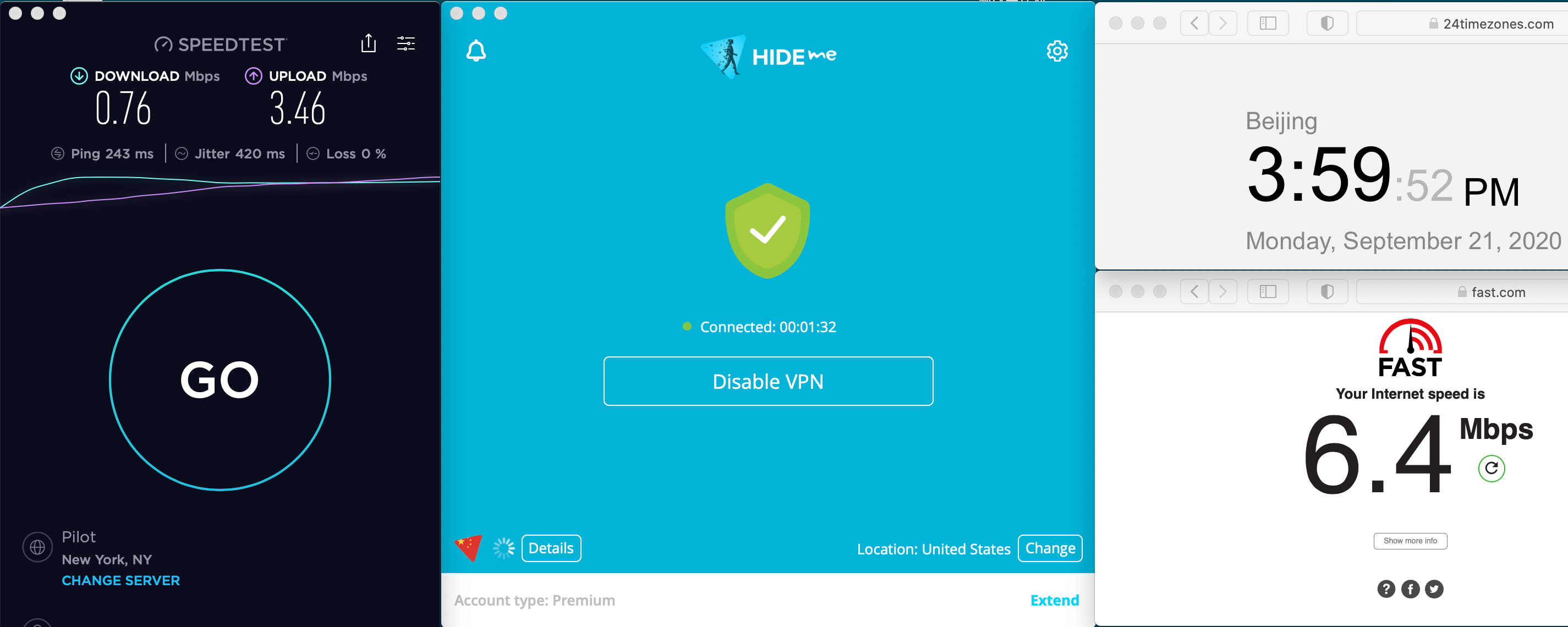 Macbook Hideme VPN Auto Streaming USA For Netflix US 中国VPN 翻墙 科学上网 速度测试 2020-09-21 at 16.00.15