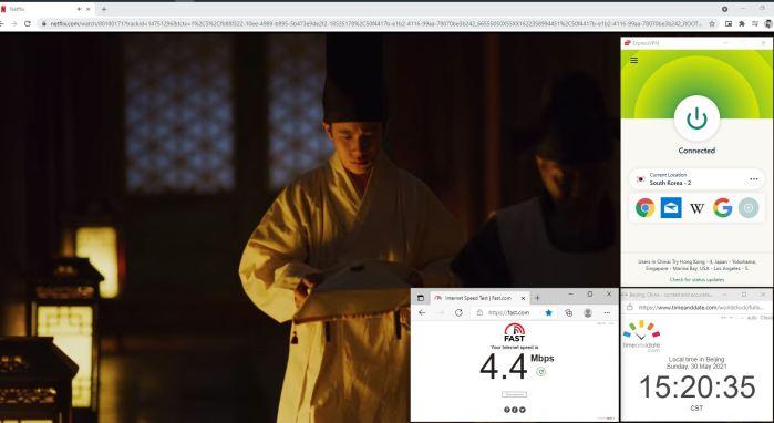 NetFlix测速 Windows10 ExpressVPN Lightway-udp协议 South Korea - 2 服务器 中国VPN 翻墙 奈飞 Barry测试 - 20210530