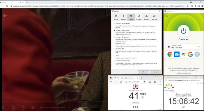 NetFlix测速 Windows10 ExpressVPN Lightway-udp协议 USA - New York 服务器 中国VPN 翻墙 奈飞 Barry测试 - 20210530