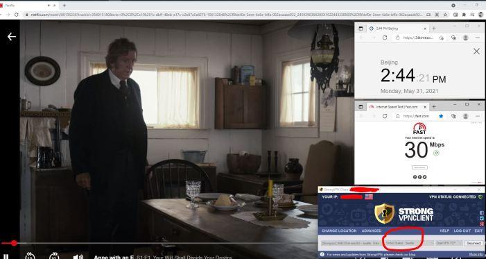 NetFlix测速 Windows10 StrongVPN TCP协议 USA - Seattle 服务器 中国VPN 翻墙 奈飞 Barry测试 - 20210531