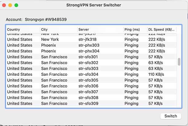 StrongVPN Server Swi