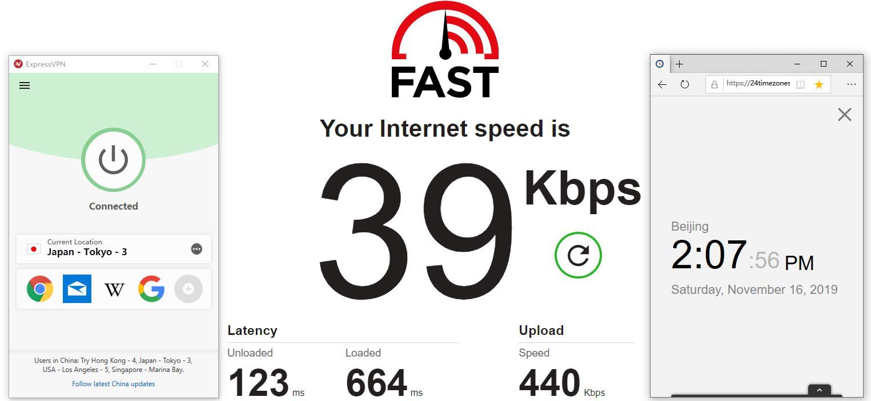 Windows ExpressVPN Japan Tokyo-3 中国VPN翻墙 科学上网 Fast SpeedTest - 20191116