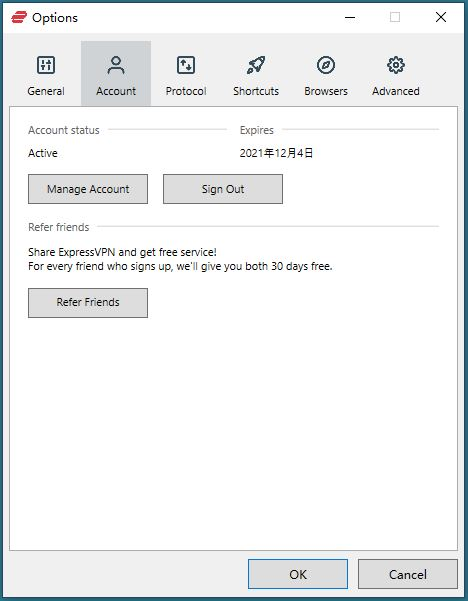 Windows ExpressVPN Options Account