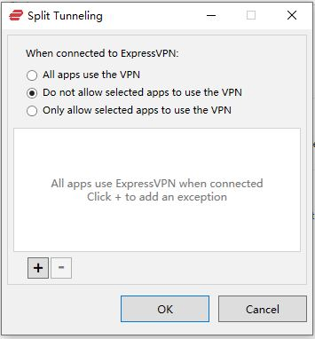 Windows ExpressVPN Options General split Tunneling Do not allow selected apps to use the VPN